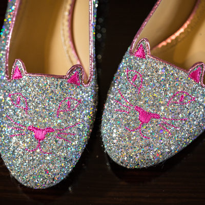 Sparkly Bridal Shoes with Cats - Pet Loving Brides