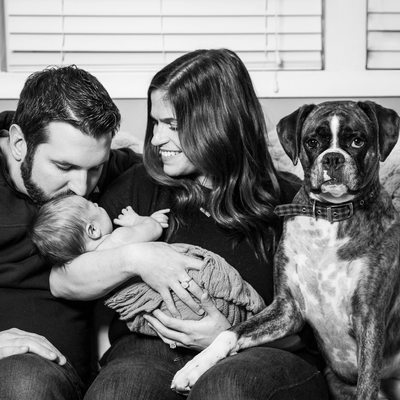 In Home Newborn Photos with Dog
