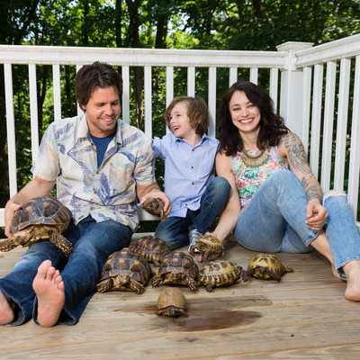 Family Photo with Turtles and Tortoises