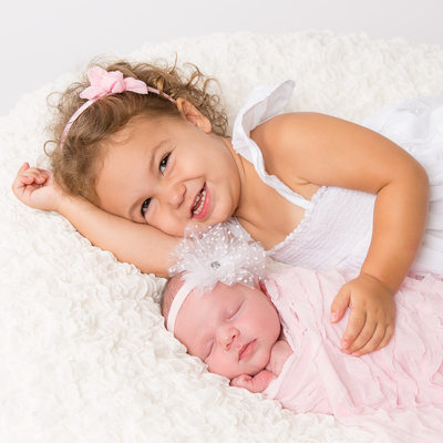 Newborn Baby with Older Sibling - Studio Photos