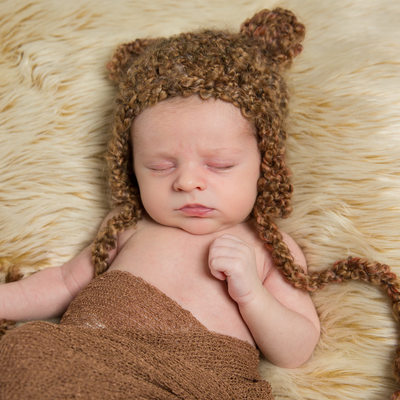 Sleeping Baby in Teddy Bear Hat - Newborn Photo Props