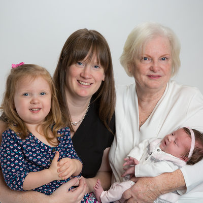Three Generations - Grandmom, Mom, Toddler, Newborn