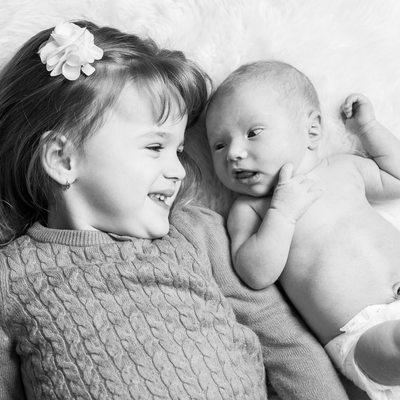 Sister + Baby Brother Sibling Photos