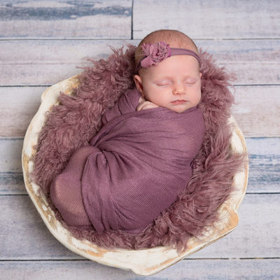Newborn Girl Swaddled in Purple - Malvern Studio