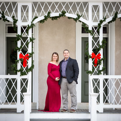 Holiday Maternity Photos in Historic Chester County