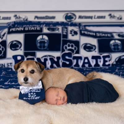 Penn State Newborn with Dog