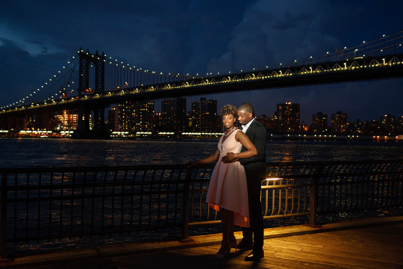Evening Engagement Photography Dumbo Brooklyn