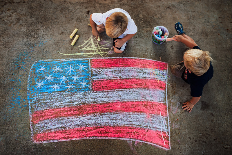 Patriotic Chalk Drawing Orange County Photographer