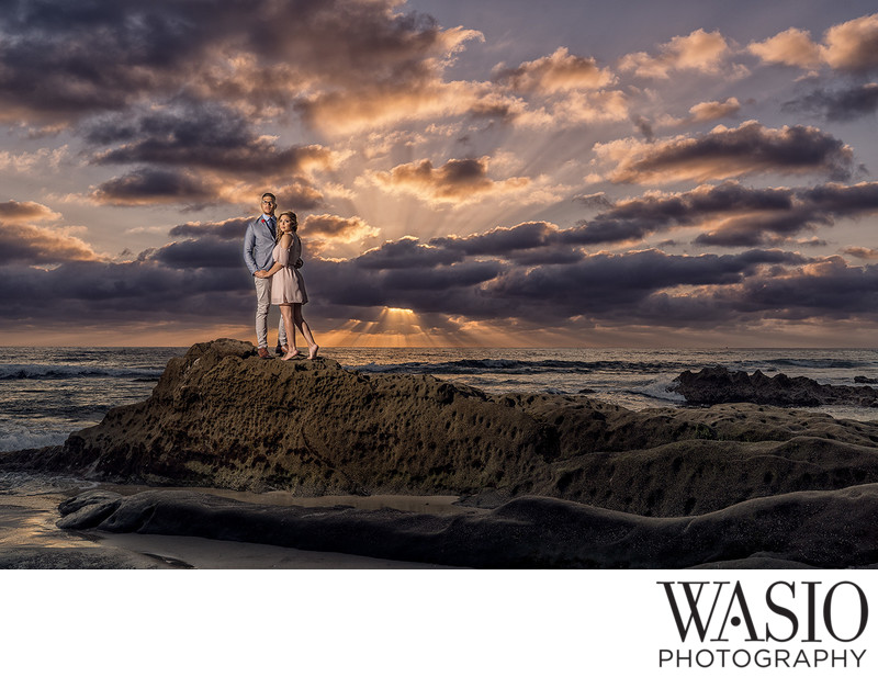 La Jolla Wind and Sea Beach Sunset Engagement