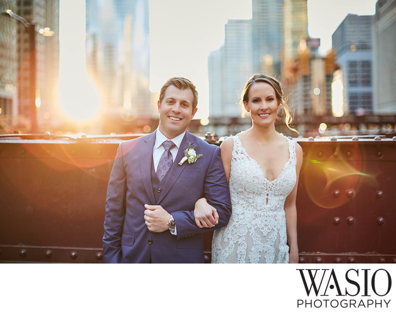 Golden Hour wedding photos, LaSalle Bridge