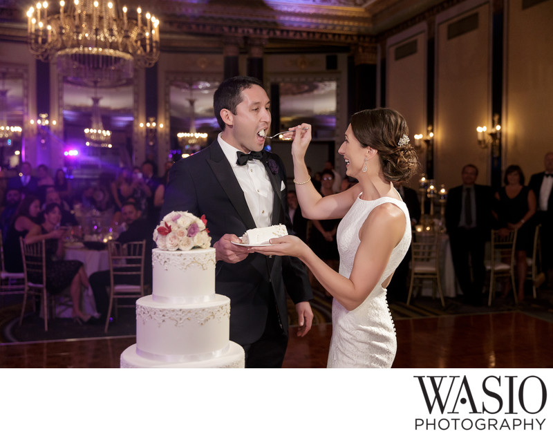 Wedding Cake Cutting at Palmer House Hotel