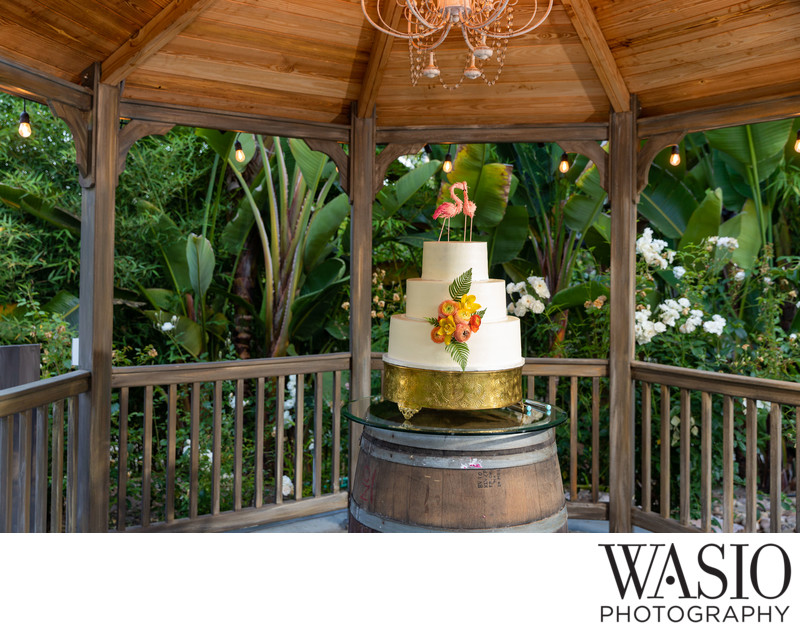 Wedding cake - pink flamingos Paradise Falls Oceanside
