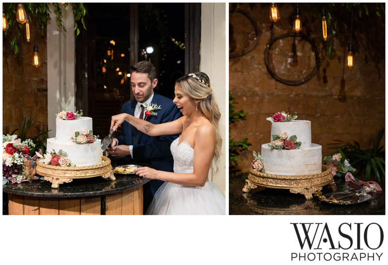 Rustic Wedding Cake with vintage lights