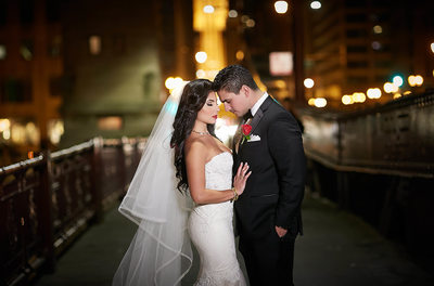 Chicago Wedding Portraits at Night