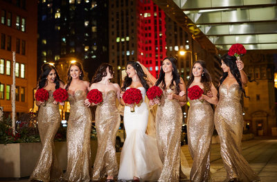 Chicago Riverfront Bridal Party Portrait