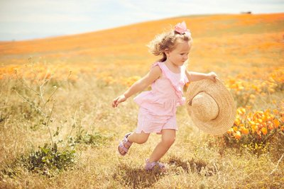 California Poppy Fields Children Photo
