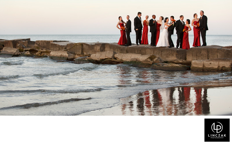 A bridal party at Cleveland's Huntingon Beach
