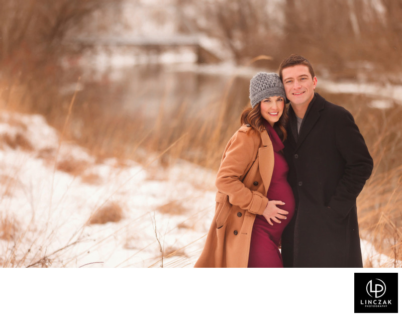 winter maternity portrait