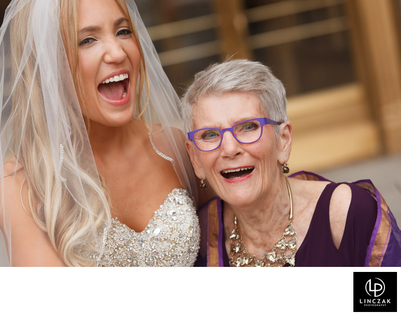 bride and her grandma on wedding day