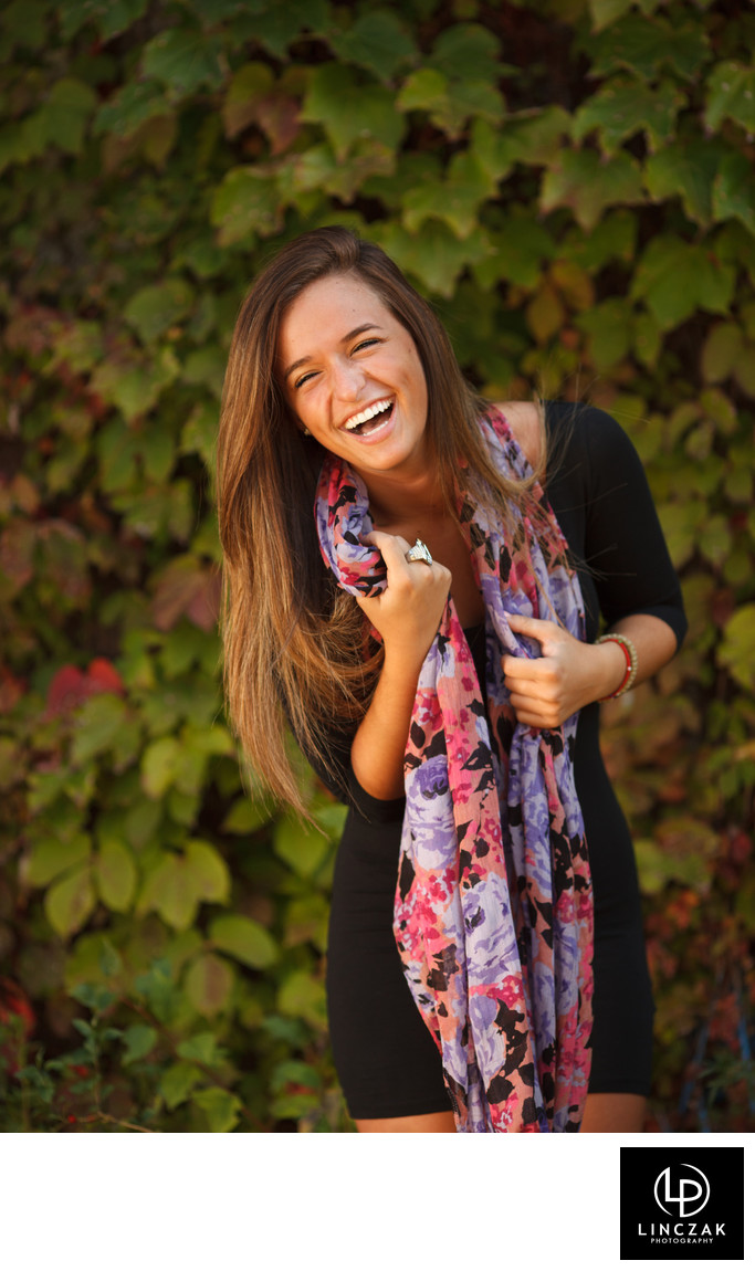 laughing senior portrait