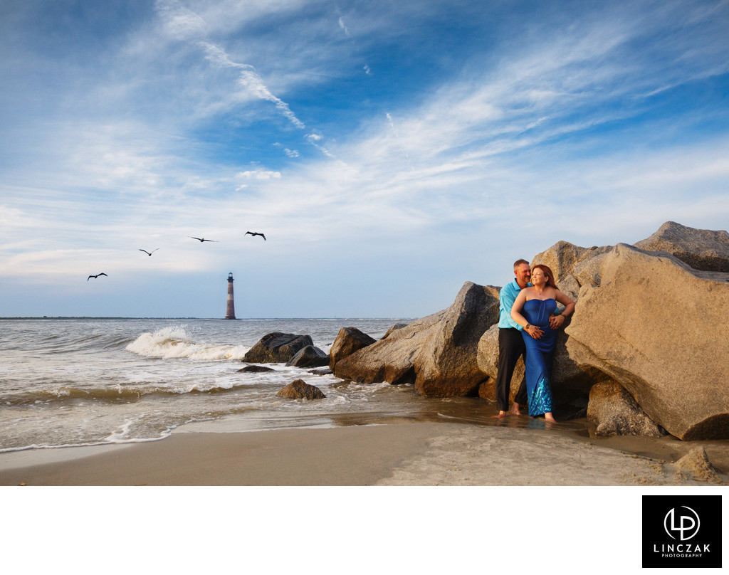 cleveland beach engagement photo