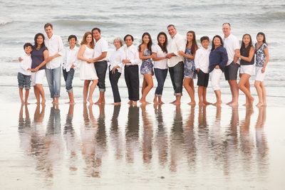 family photo beach setting