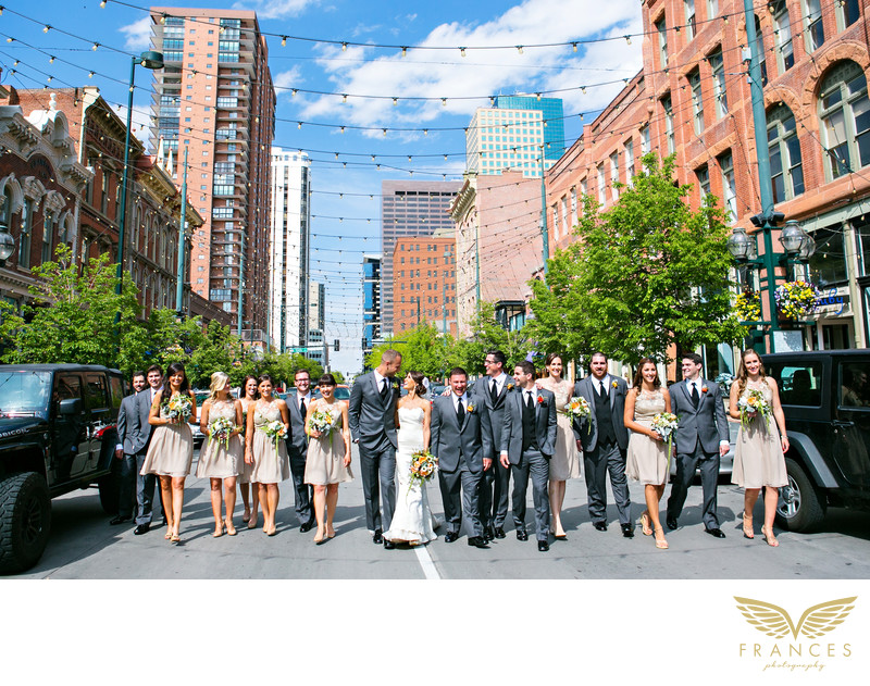 Denver wedding pictures bridal party Larimer