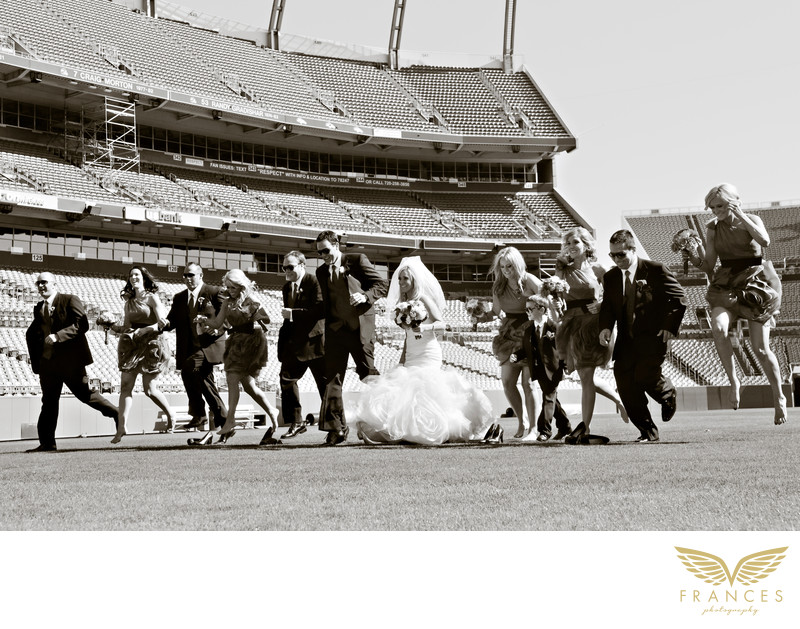 Mile High Stadium Denver wedding photo