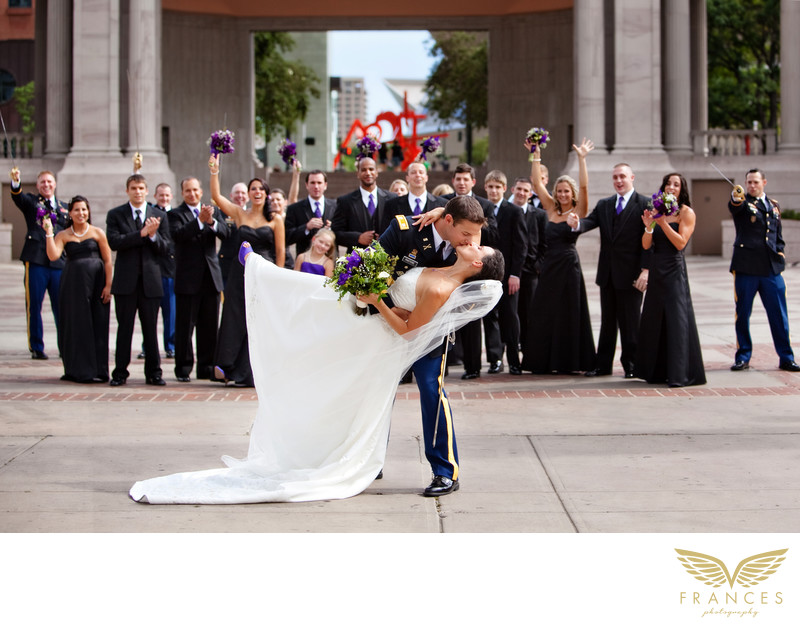 Military wedding bride groom Denver photographer