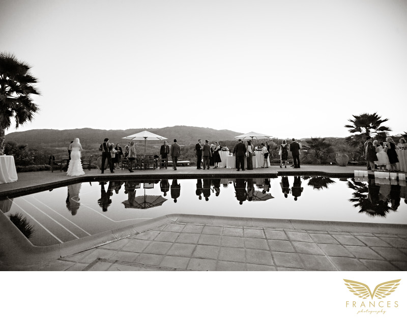pool side reception California wedding pictures