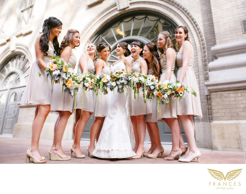 Bride bridesmaids downtown Denver wedding photographer