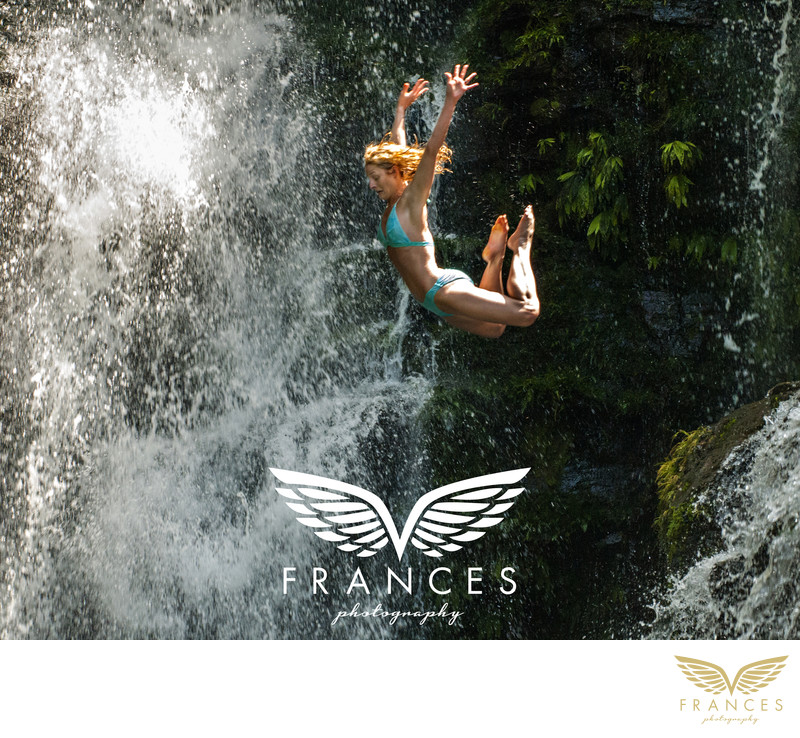Costa Rica waterfall jump Frances Marron
