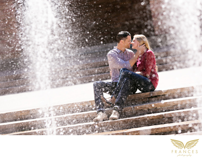 Love fountain couple Denver engagement pictures