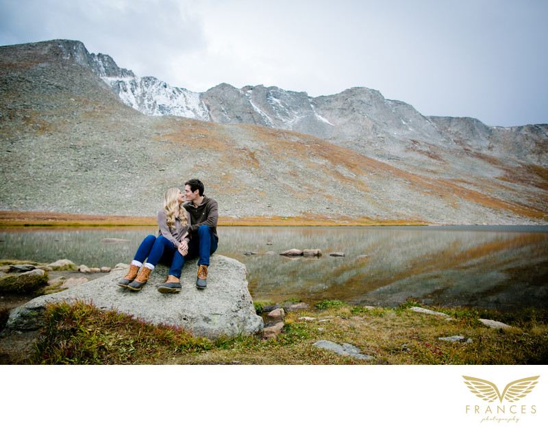 high alpine lake Colorado engagement pictures
