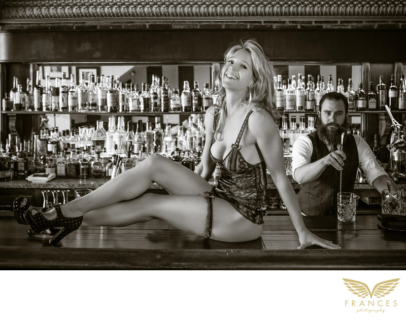 Bar boudoir photography shoot Denver Colorado
