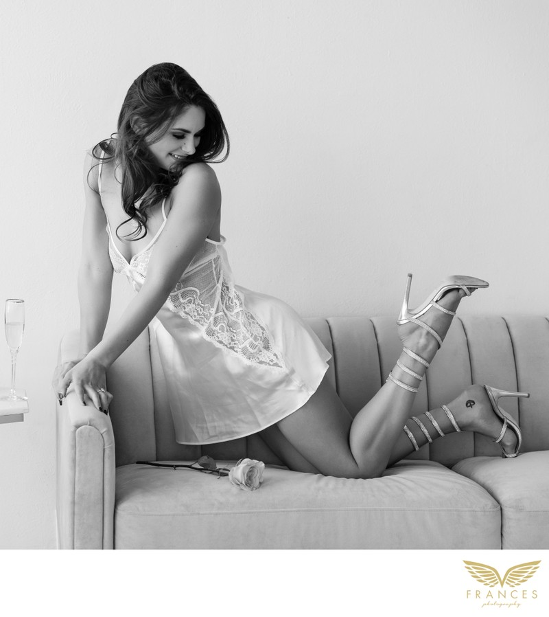 Woman Enjoying Boudoir Photography Shoot