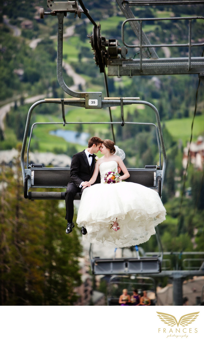 Bride groom mountains Colorado wedding photographer