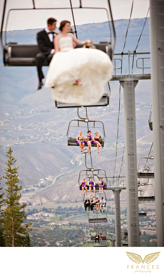 Bridal party chairlift Colorado wedding photographer