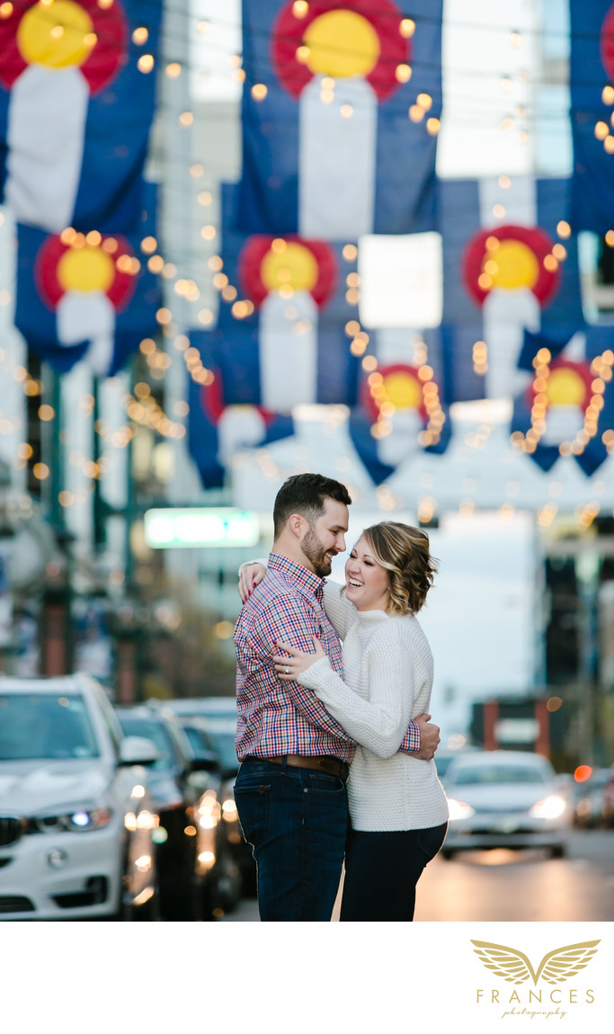 Larimer Street couple Denver engagement pictures