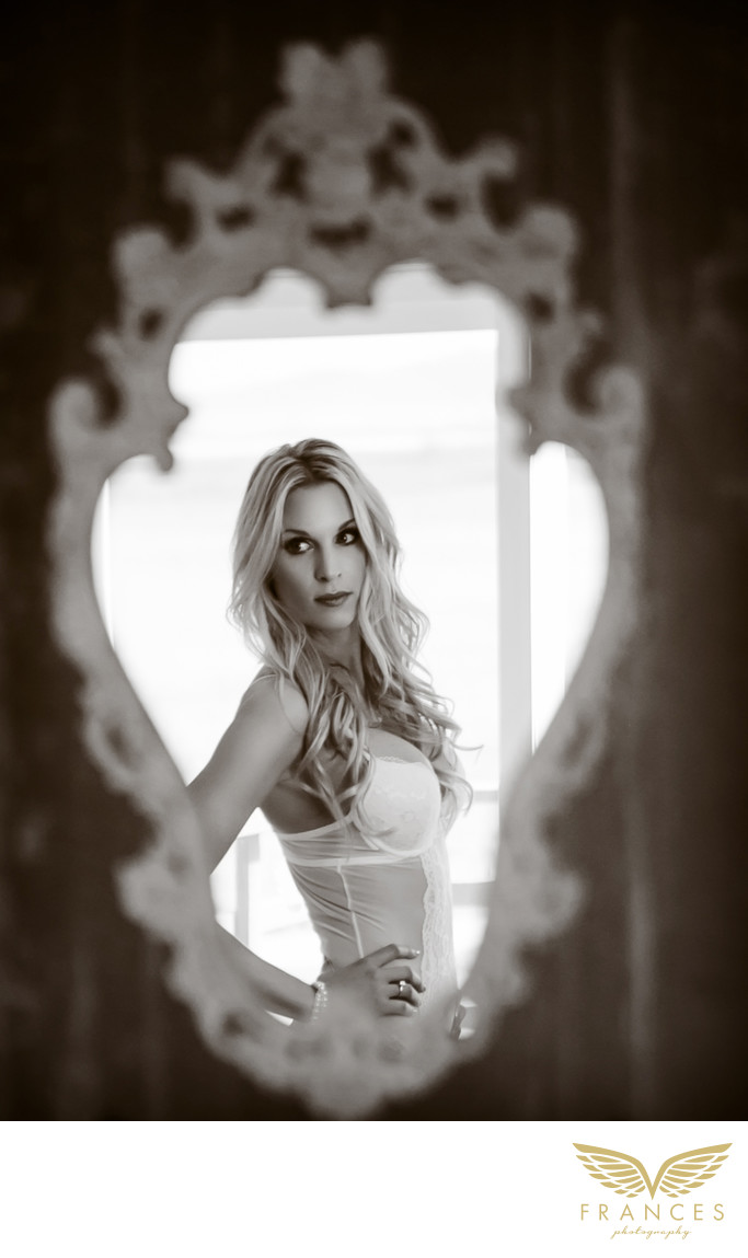 Beautiful woman reflection boudoir photography Denver