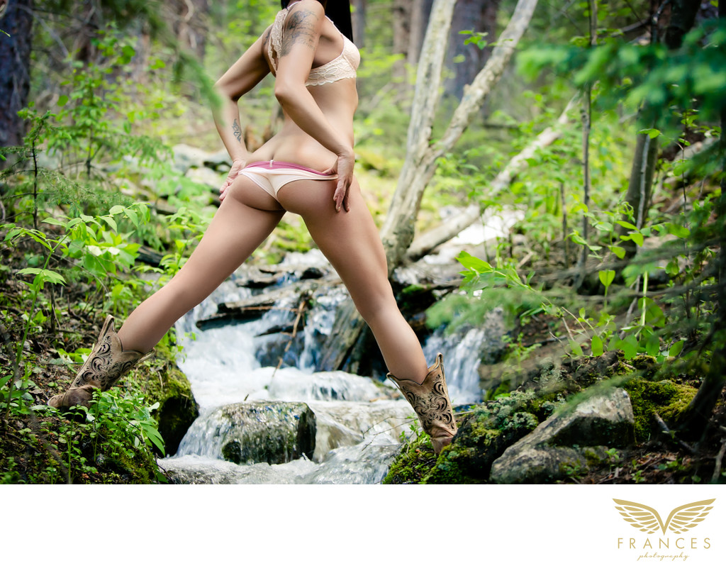 Outdoor boudoir photography Colorado mountain stream