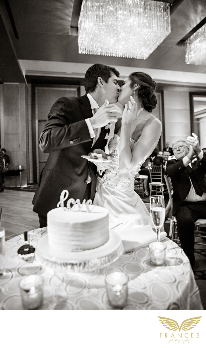 Bride groom kiss Denver wedding photography