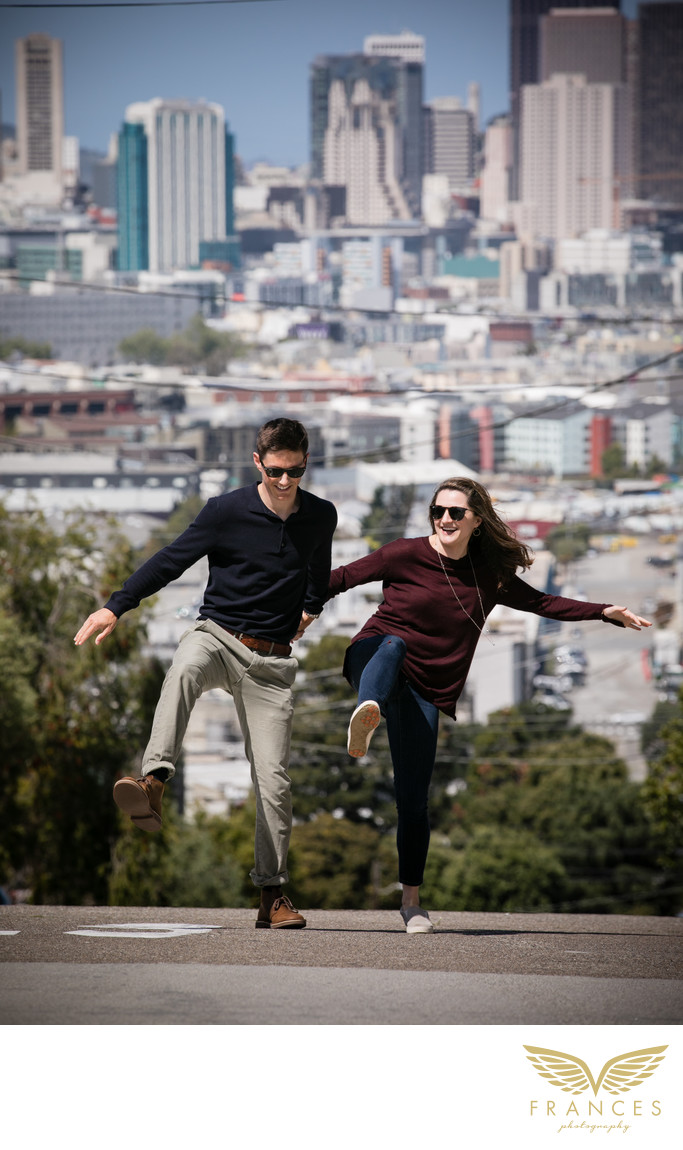 San Francisco California city engagement photos