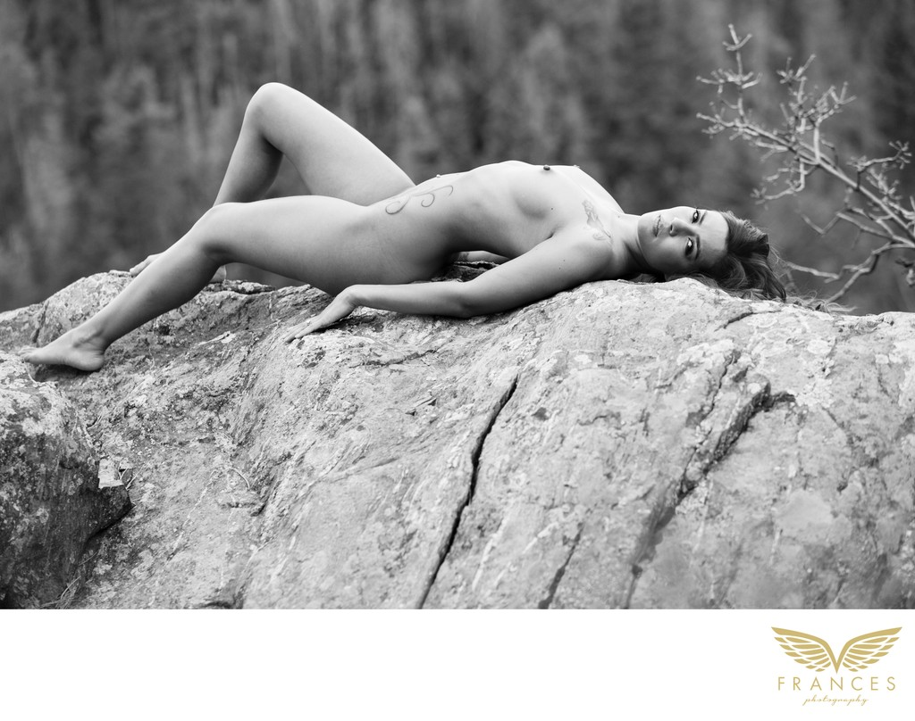 Black and White Outdoor Boudoir Photograph in Colorado