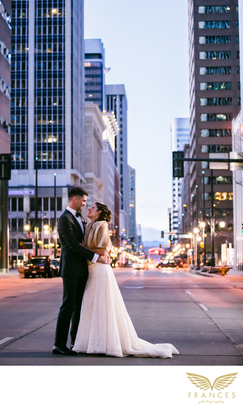 Denver wedding photography bride groom downtown