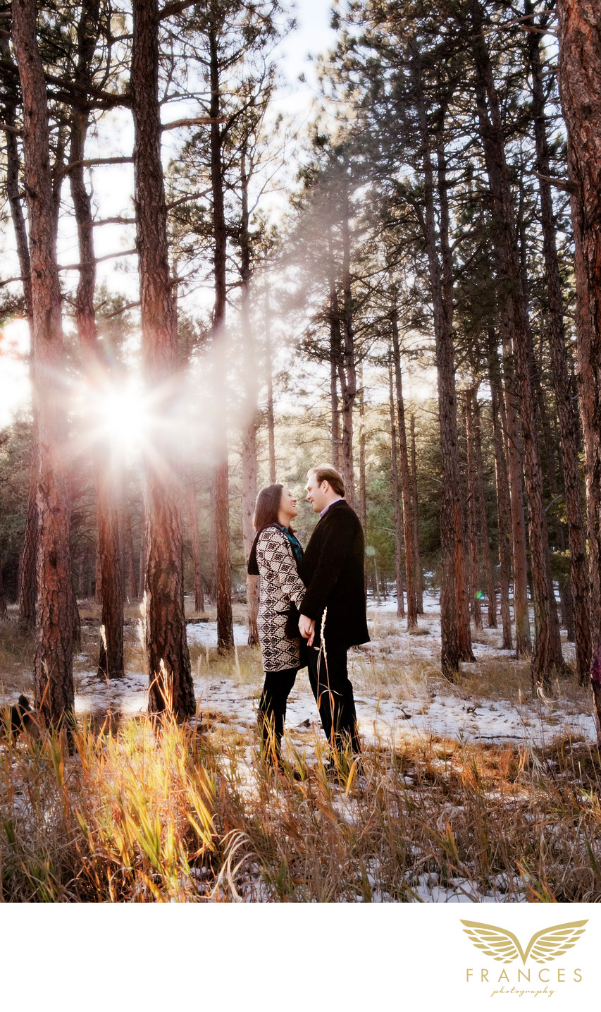 Mountain sunset walk Colorado engagement photographer