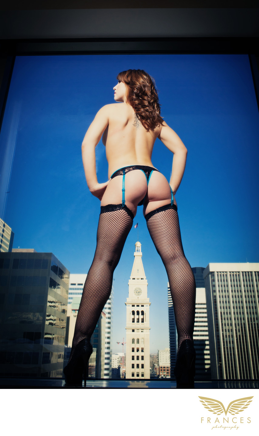 Adventurous confident city woman Denver boudoir