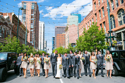Denver wedding photographer on Larimer in Street Denver