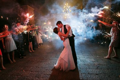Denver Wedding Photos of Bride and Groom Firework Exit