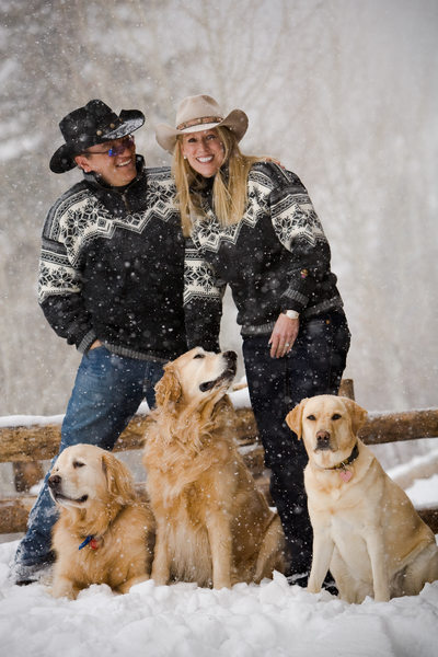 Mountain couple dogs Colorado engagement photography